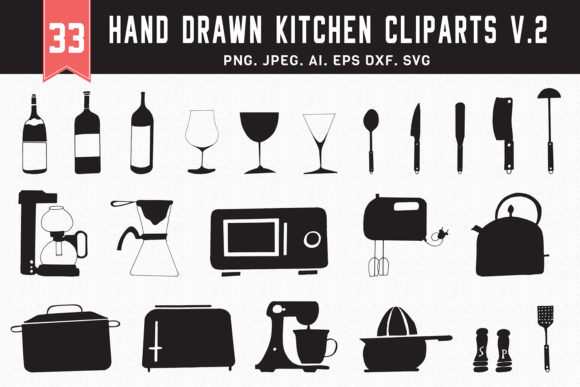 Print on Demand: 30+ Hand Drawn Kitchen Clipart Ver. 2 Graphic Illustrations By Creative Tacos