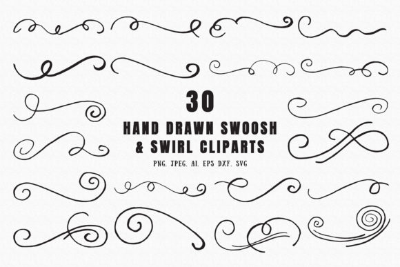 Print on Demand: 30 Hand Drawn Swoosh & Swirl Cliparts Graphic Illustrations By Creative Tacos
