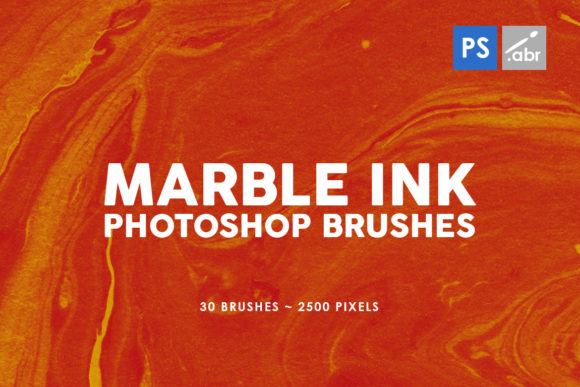 Print on Demand: 30 Marble Ink Photoshop Stamp Brushes 1 Graphic Brushes By ArtistMef