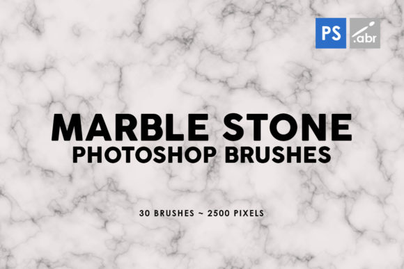 Print on Demand: 30 Marble Photoshop Stamp Brushes Graphic Brushes By ArtistMef