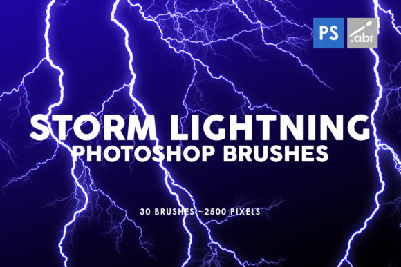 Print on Demand: 30 Storm Lightning Ptohoshop Brushes Grafik Pinselstriche von ArtistMef