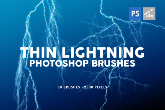Print on Demand: 30 Thin Lightning Photoshop Brushes Graphic Brushes By ArtistMef