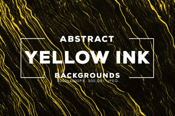 Print on Demand: 30 Yellow Abstract Ink Backgrounds Graphic Backgrounds By ArtistMef