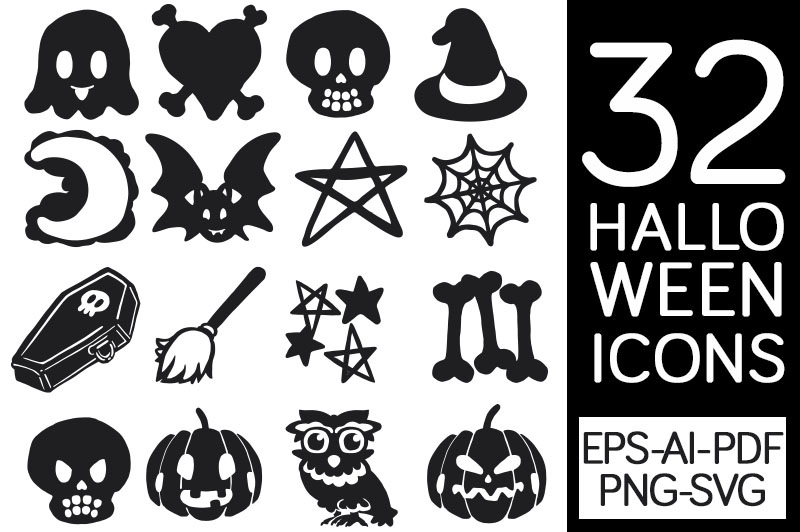 Download Free 32 Halloween Icons Graphic By Milaski Creative Fabrica for Cricut Explore, Silhouette and other cutting machines.