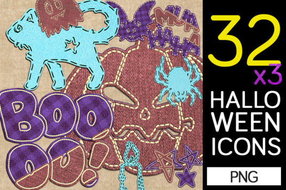 Print on Demand: 32 Halloween Icons in Textile Style Graphic Illustrations By Milaski