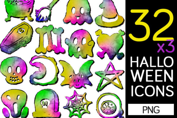 Print on Demand: 32 Halloween PNG Graphic Illustrations By Milaski