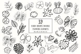 35+ Handdrawn Doodle Flowers Cliparts Graphic By Creative Tacos