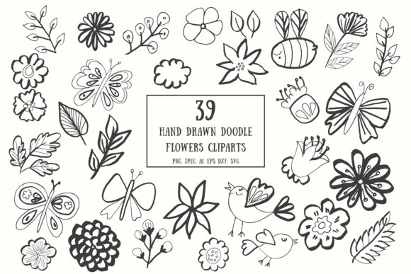 Print on Demand: 35+ Handdrawn Doodle Flowers Cliparts Graphic Actions & Presets By Creative Tacos