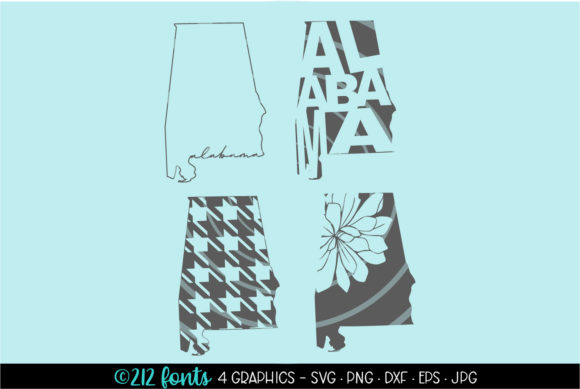 Print on Demand: 4 - Alabama State Map Graphics Graphic Illustrations By 212 Fonts