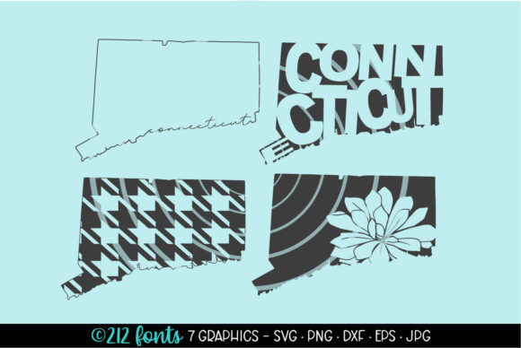 Print on Demand: 4 Connecticut State Map Graphics Graphic Illustrations By 212 Fonts