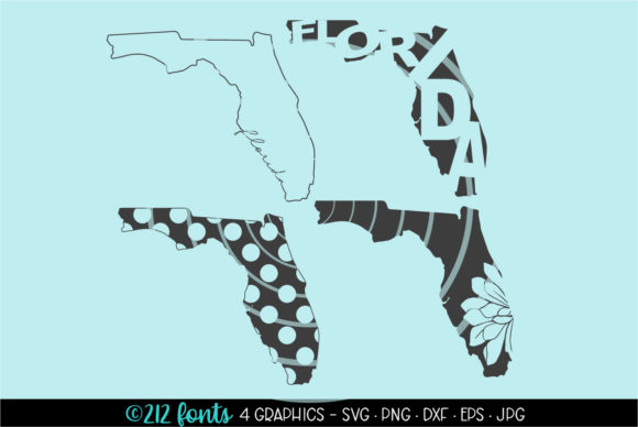 Print on Demand: 4 - Florida State Map Graphics Graphic Illustrations By 212 Fonts