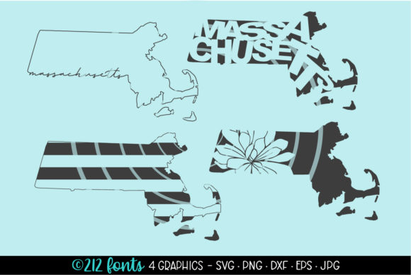 Print on Demand: 4 - Massachusetts State Map Graphics Graphic Illustrations By 212 Fonts