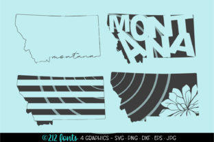 Print on Demand: 4 - Montana State Map Graphics Graphic Illustrations By 212 Fonts
