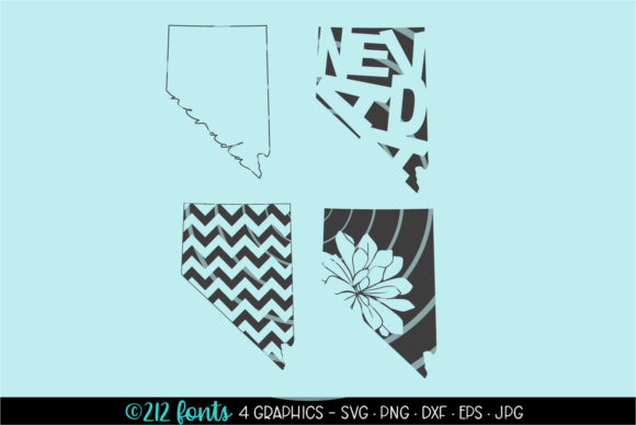 Print on Demand: 4 - Nevada State Map Graphics Graphic Illustrations By 212 Fonts