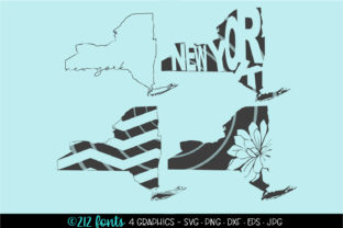 4 - New York State Map Graphics Graphic By 212 Fonts