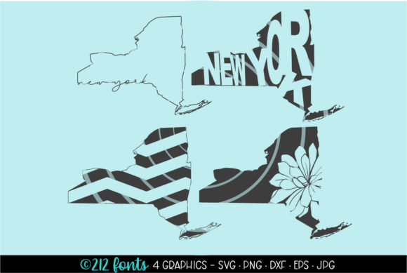 Print on Demand: 4 - New York State Map Graphics Graphic Illustrations By 212 Fonts