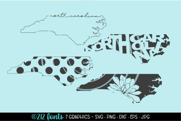 Print on Demand: 4 - North Carolina State Map Graphics Graphic Illustrations By 212 Fonts