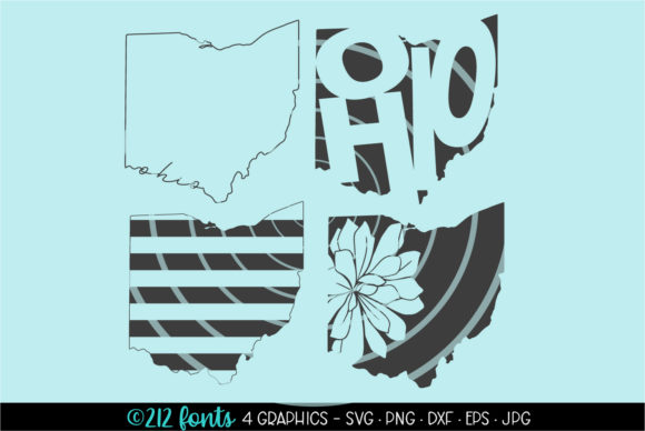 Print on Demand: 4 - Ohio State Map Graphics Graphic Illustrations By 212 Fonts