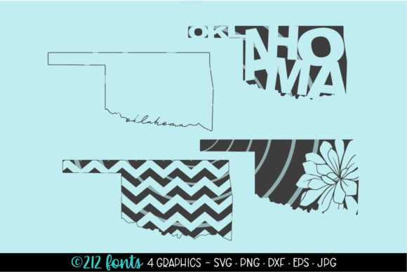 Print on Demand: 4 - Oklahoma State Map Graphics SVG Graphic Illustrations By 212 Fonts