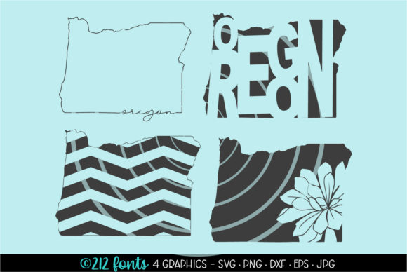 Print on Demand: 4 - Oregon State Map Graphics Graphic Illustrations By 212 Fonts
