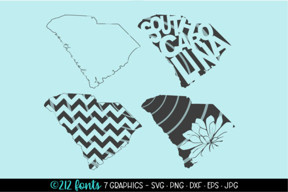 Print on Demand: 4  South Carolina State Map Graphics Graphic Crafts By 212 Fonts