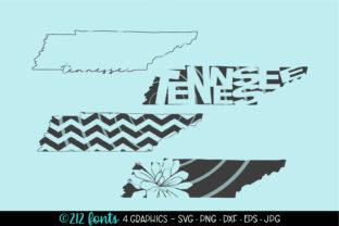 Print on Demand: 4 - Tennessee State Map Graphics Graphic Illustrations By 212 Fonts