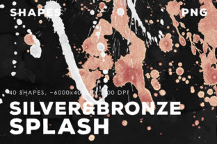 40 Bronze&Silver Paint Splashes Graphic By ArtistMef