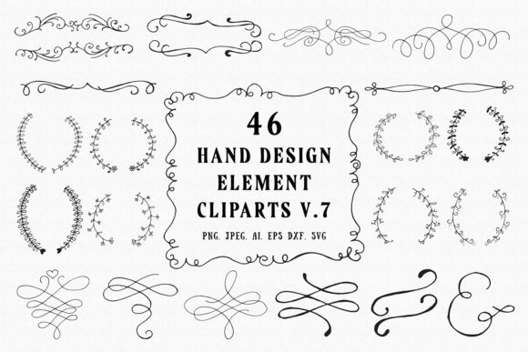 Download Free 45 Hand Design Element Clipart Ver 7 Graphic By Creative Tacos for Cricut Explore, Silhouette and other cutting machines.