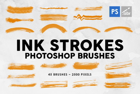 Print on Demand: 45 Ink Strokes Photoshop Stamp Brushes Graphic Brushes By ArtistMef