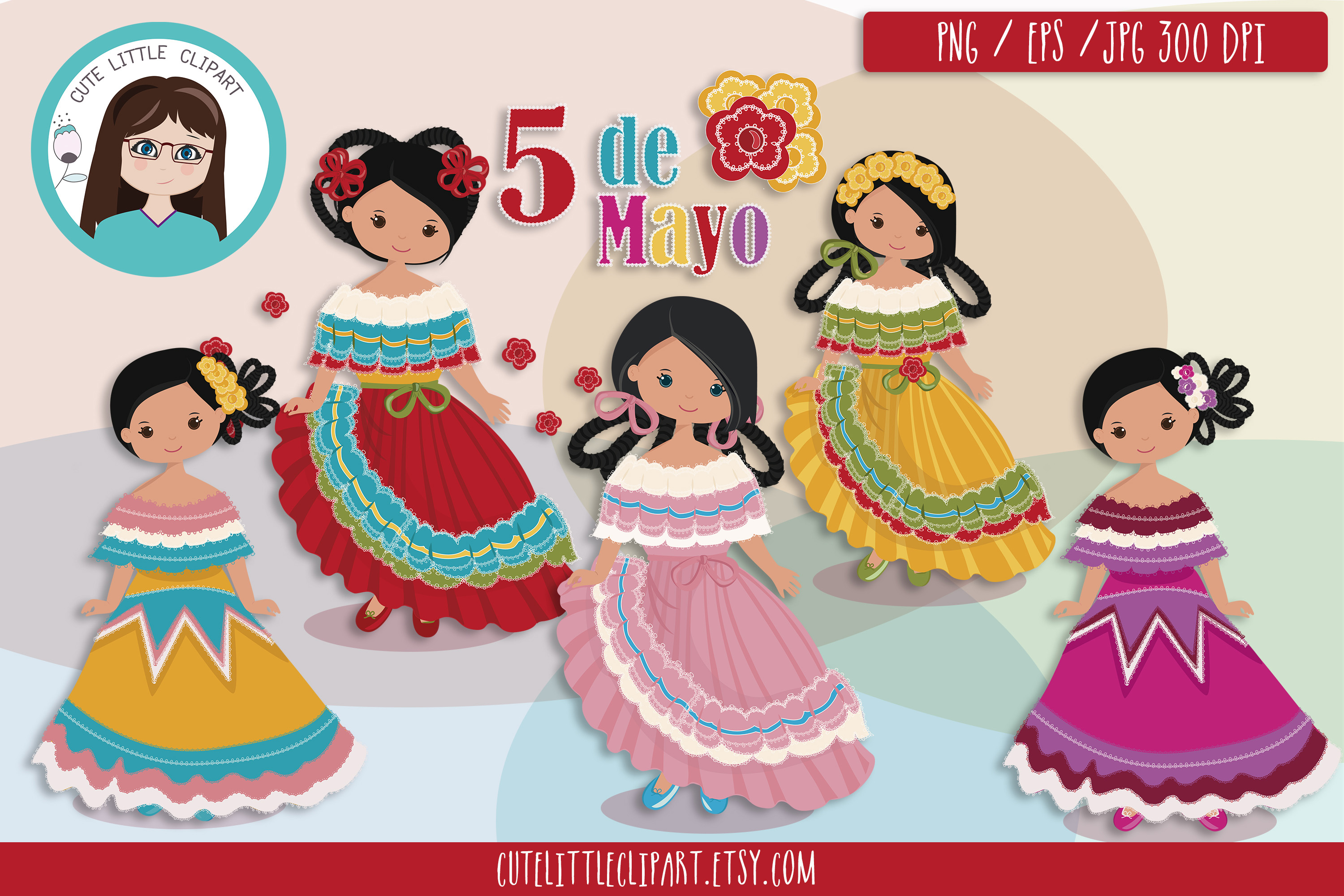 Download Free 5 De Mayo Girls Cliparts Graphic By Cutelittleclipart Creative for Cricut Explore, Silhouette and other cutting machines.