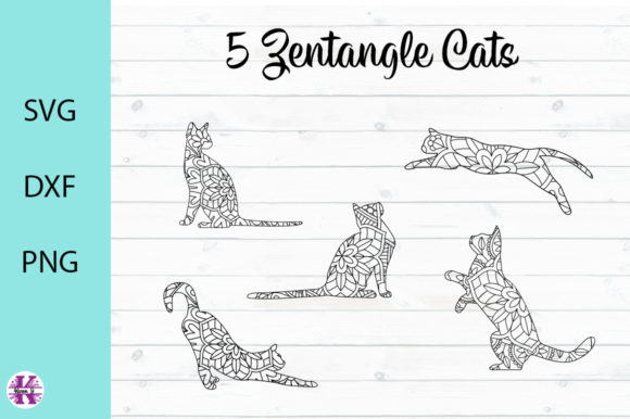 Print on Demand: 5 Zentangle Cats Graphic Crafts By Karen J - Image 1