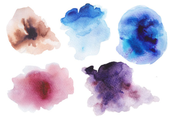 Download Free 6 Watercolor Ombre Splashes Set Graphic By Kaleriiatv Creative for Cricut Explore, Silhouette and other cutting machines.