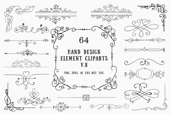 Print on Demand: 60+ Hand Design Element Cliparts Ver. 8 Graphic Illustrations By Creative Tacos