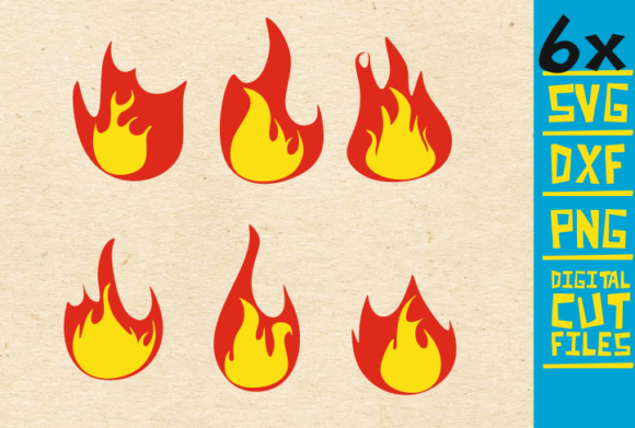 Download Free 6x Fire Flames Flames Graphic By Svgyeahyouknowme Creative Fabrica for Cricut Explore, Silhouette and other cutting machines.