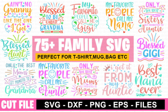 75 Funny Family SVG Mega Bundle Graphic Print Templates By Graphicsqueen - Image 1