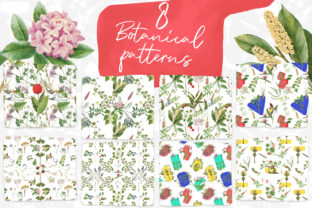 8 Vintage Botanical Patterns Graphic By freezerondigital