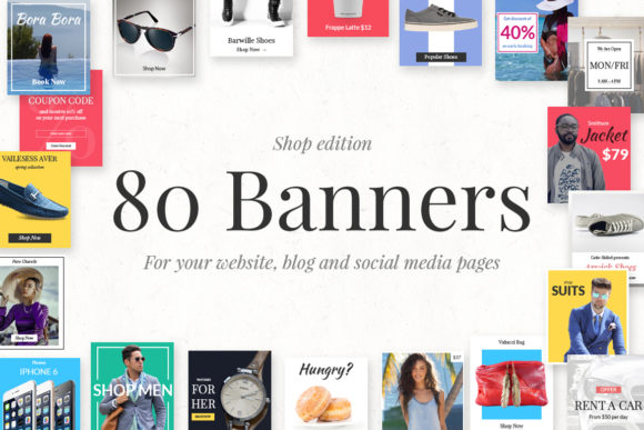 80 Banners Shop Edition Graphic Web Elements By Web Donut