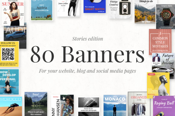 80 Banners Stories Edition Graphic Web Elements By Web Donut