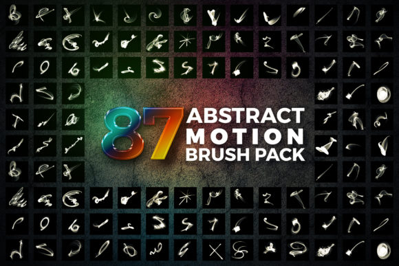 87 Abstract Motion Brush Pack Graphic Brushes By Shemul - Image 1