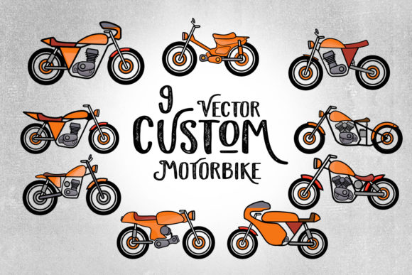 9 Custom Motorbike Vector Graphic Illustrations By creativemedialab