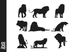 Download Free 9 Lion Silhouette Bundle Graphic By Arief Sapta Adjie Creative for Cricut Explore, Silhouette and other cutting machines.