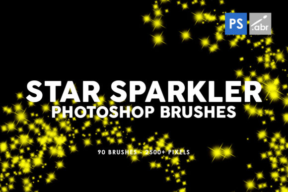 Print on Demand: 90 Star Sparkler Photoshop Stamp Brushes Graphic Brushes By ArtistMef
