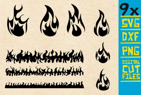 Download Free 9x Fire Bundle Flames Vector Graphic By Svgyeahyouknowme SVG Cut Files