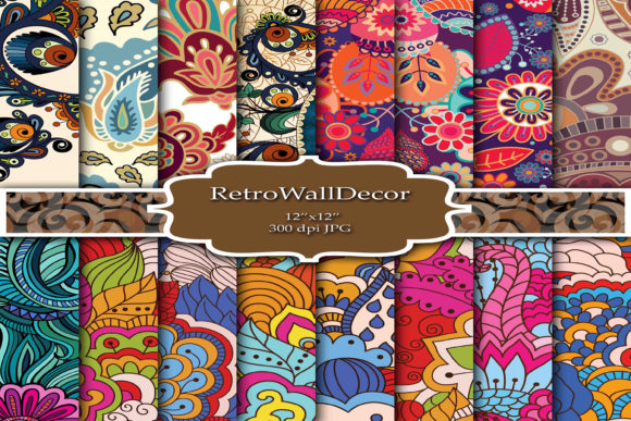 Print on Demand: Abstract Floral Digital Paper Graphic Backgrounds By retrowalldecor