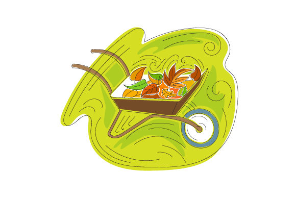 Abstract Print Style Wheel Barrow Full of Colorful Leaves Fall Craft Cut File By Creative Fabrica Crafts