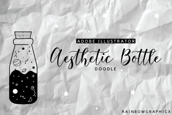 Download Free Aesthetic Bottle Doodle Graphic By Rainbowgraphicx Creative for Cricut Explore, Silhouette and other cutting machines.