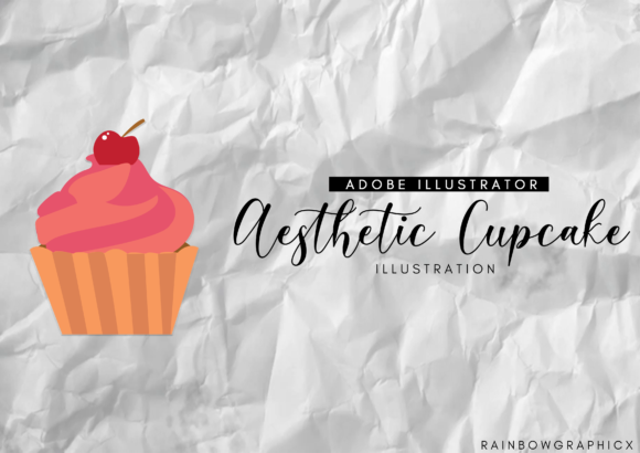 Print on Demand: Aesthetic Cupcake Illustration Graphic Illustrations By RainbowGraphicx