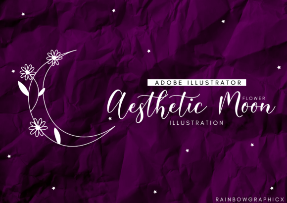 Print on Demand: Aesthetic Flower Moon Graphic Illustrations By RainbowGraphicx