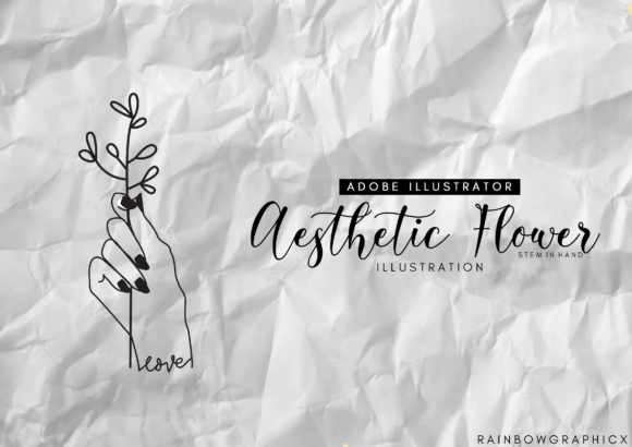Print on Demand: Aesthetic Hand Graphic Illustrations By RainbowGraphicx