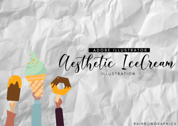 Print on Demand: Aesthetic Holding Ice Cream Graphic Illustrations By RainbowGraphicx